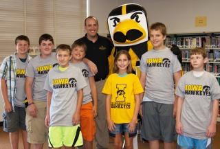 Herky joins James R. Stachowiak for the ICATER workshop at Roosevelt Middle School.