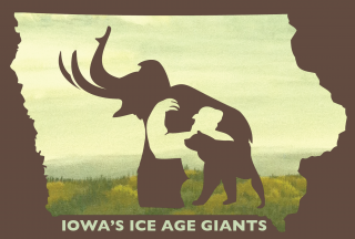 "A poster with silhouettes of a bear, sloth and mammoth and the word ""Iowa's Ice Age Giants"""
