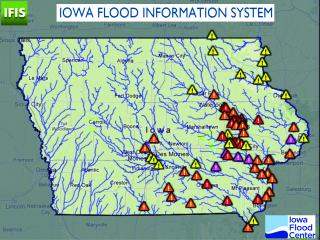 map of Iowa showing flood warnings