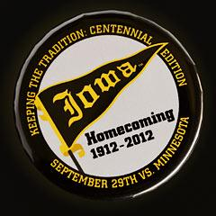 Close-up of 2012 Iowa Homecoming button