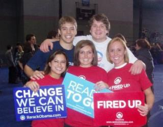 Andrea Jansa and other students pose with Obama signs