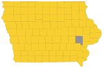 Map of Iowa highlighting Johnson County