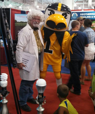Doug Litwiller (aka Professor Therm), associate director of energy conservation in the Department of Facilities, with Herky