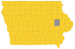 Map of Iowa highlighting Linn County