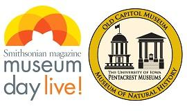 Two logos: Museum Day Live of the Smithsonian Magazine and UI Pentacrest Museums