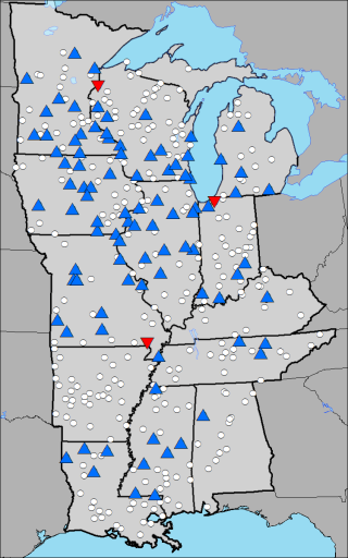 The map shows location of selected rain gauges, with blue (red) triangles depicting sites with significant increasing (decreasing) trends, and white circles showing sites with little or no change. (Adapted from Villarini et al. (2013))