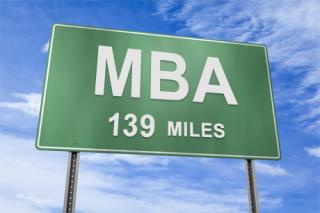 photo illustration of road sign indicating 139 miles to the MBA program