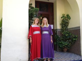 Ryan poses with friend in Moroccan dresses