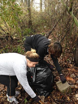Cleaning up a wooded lot.