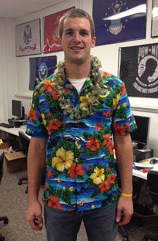 Hawaiian shirt and camo lei for veteran's day