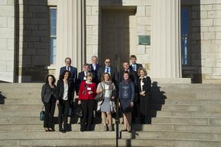 NUST/MISiS delegation on Old Capitol steps.