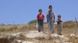 Three brothers pose for a picture outside their home in Urif village in the north of the West Bank.