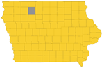 Map of Iowa highlighting Palo Alto County, Iowa