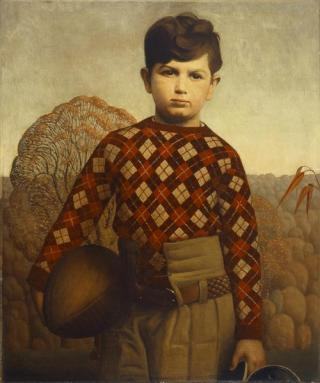 Painting of a boy wearing a plaid sweater and holding a football