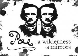 A drawing of Edgar Allen Poe with two mirrors images of the author