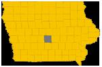 Polk county highlighted on Iowa map