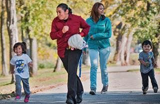 A family takes a walk.