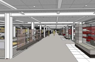 Architectural rendering of interior space of main library renevoations