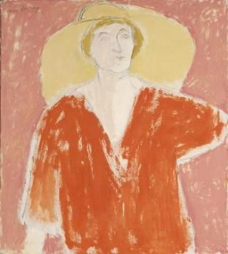 This is a painting of a woman wearing a large hat.