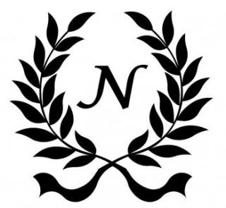 """A drawing of a wreath of leaves with an """"N"""" in the middle"""