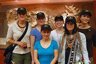 group shot of Lindsay Eaves with her 4 research companions