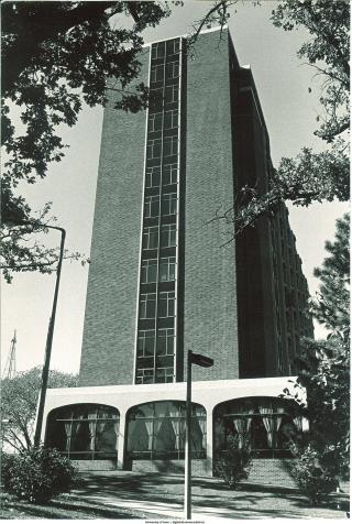 Exterior shot of Slater Hall, 1968