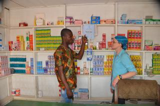 Stephanie Lukas in a pharmacy in northern Ghana