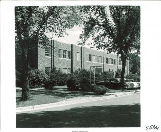 Exterior shot of South Quadrangle Hall, 1955