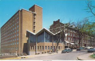 Exterior shot of Stanley Hall, with Currier to the right, 1960s
