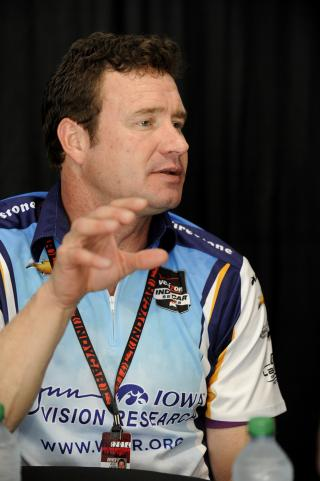 Buddy Lazier during an interview at Indy 500 Media Day.