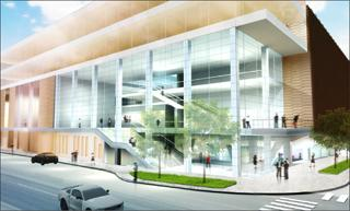 An exterior view of the main entry for the Voxman School of Music/Clapp Recital Hall.