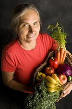 terry wahls holding basket full of fruits and veggies