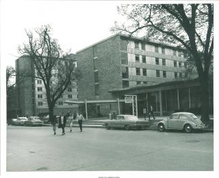 Exterior shot of Burge Hall, with Daum Hall to the left, 1960s