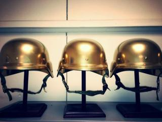 The Golden Helmets, this year's coveted Warrior Challenge trophies for the divisional winners.