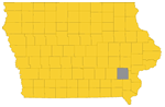 Washington county highlighted on a map of Iowa