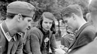 White Rose resistance group members Hans Scholl, Sophie Scholl, and Christoph Probst in 1942.