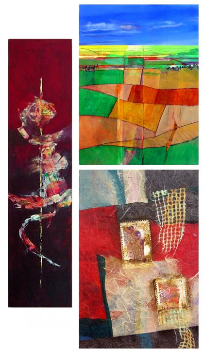 Three pieces of art by Alicia Brown (clockwise from left): Twist, Bird's Eye View, and Memento I