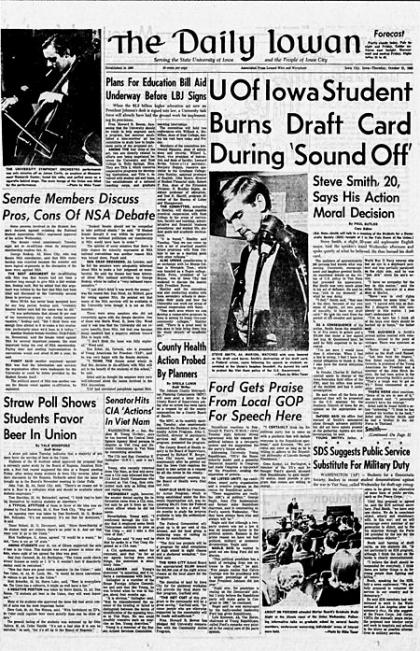 Front page of The Daily Iowan, Oct. 21, 1965