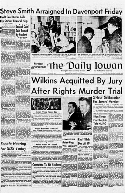 Front page of The Daily Iowan, Oct. 23, 1965