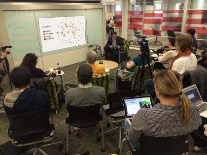 English Professor Blaine Greteman at a spring 2014 Studio Talk in the Library Learning Commons