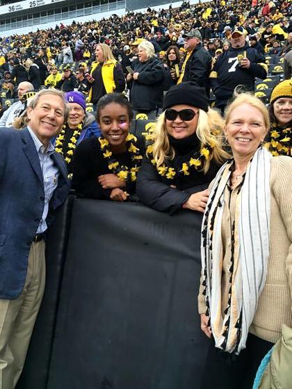 Sheri Salata and her daughter Alexis Wright, a UI sophomore, with Bruce and Mary Harreld at the UI vs. Maryland football game on Oct. 31, 2015.