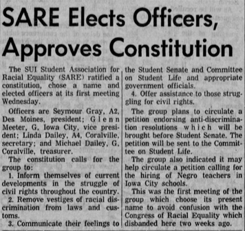 Screen capture of 1962 Daily Iowan front page