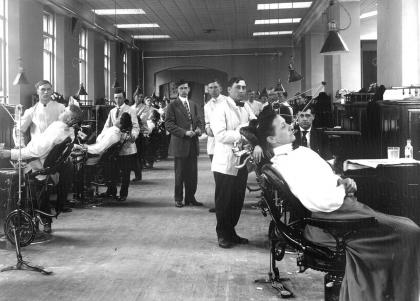 Students in a dental clinic circa 1910.
