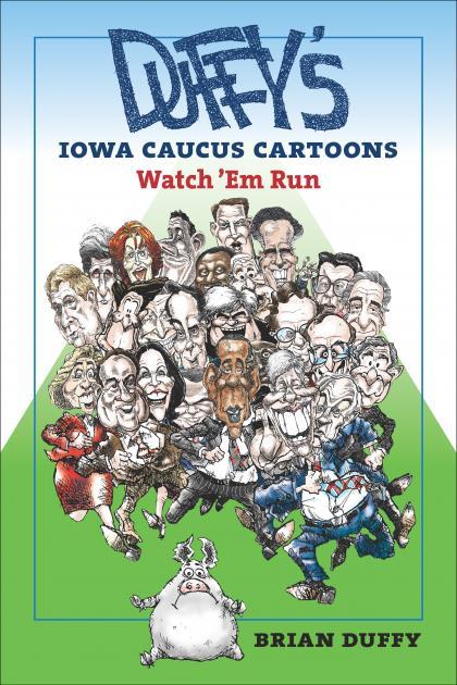 Cover of UI Press book on caucus cartoons