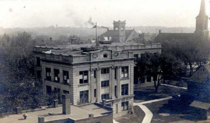 black and white aerial photo of campus along Iowa Avenue
