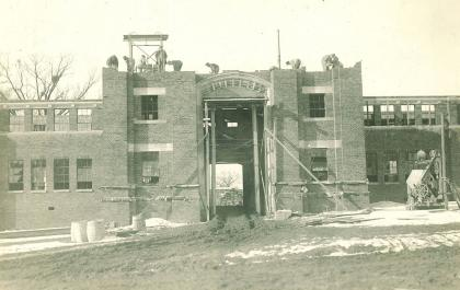 Black-and-white photo of Quadrangle construction
