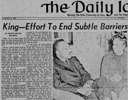 Screen shot of 1959 Daily Iowan front page