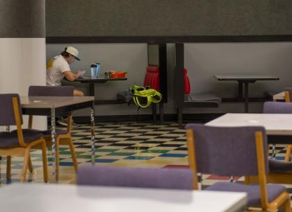 Student studying in Burge