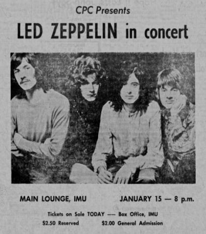 Daily Iowan ad for 1969 Led Zeppelin concert