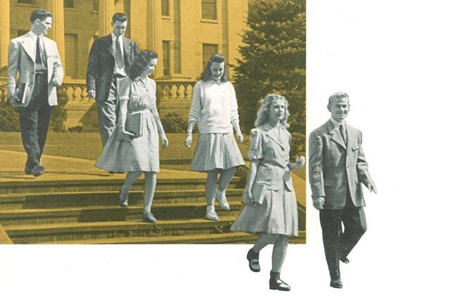 1944 image of students walking down steps near Old Capitol